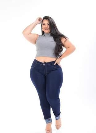 Calça jeans barra love escura plus size skinny