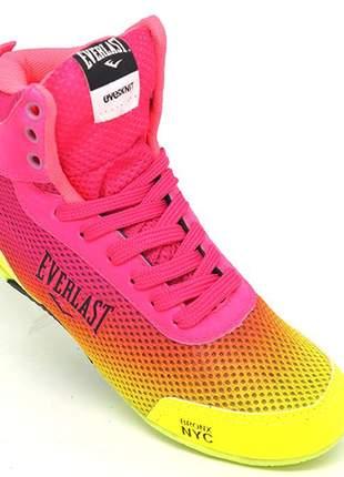Tênis feminino everlast forceknit rosa e amarelo limão