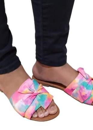 Rasteira feminina tie dye sandália chinelo rasteirinha tamanco 33 ao 40