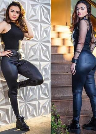 Calça feminina cos alto disco pants cirre preta vinho e caramelo
