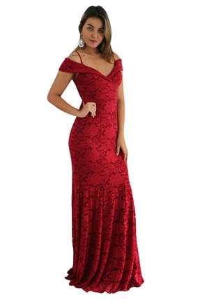 Vestido longo renda de festa vermelho madrinha de casamento natal reveillon eventos