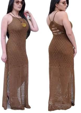 Vestido longo tricot rendado dupla fenda