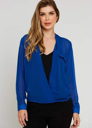 Camisa ralm chiffon transpassada - azul