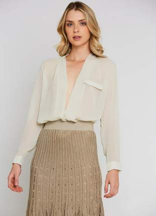 Camisa ralm chiffon transpassada - off white