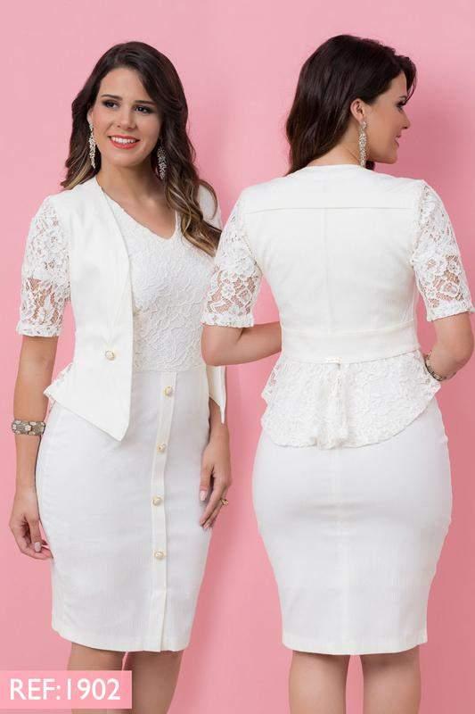 a1d905828 Vestido com casaco piquet detalhe em renda off white - R$ 334.00 ...