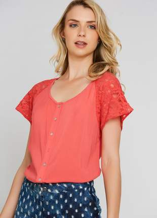 Camisa ralm detalhes em renda - laranja