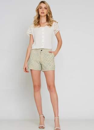 Camisa ralm detalhes em renda - off white