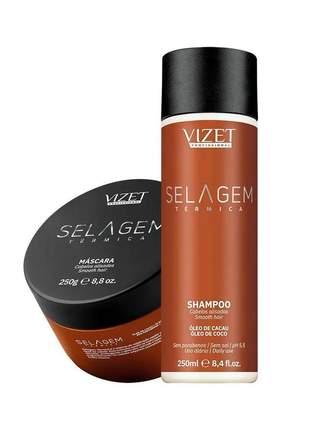 Kit home cara selagem termica shampoo + máscara vizet