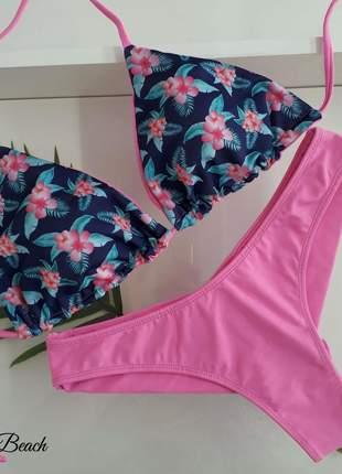 Biquíni cortininha fio duplo – floral azul e rosa - soulbeach