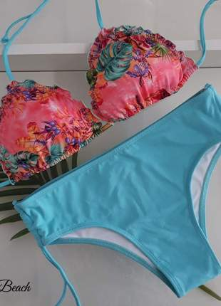 Biquíni ripple sunquíni – floral rosa e azul - soulbeach