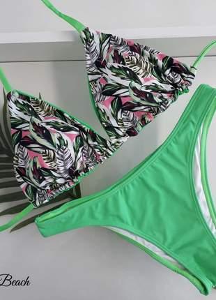 Biquíni asa delta tanga - floral verde neon – soulbeach