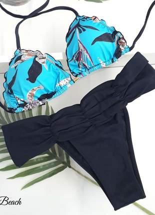 Biquíni ripple cinturão - floral azul e preto – soulbeach