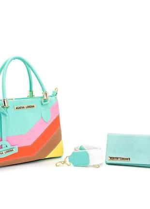 Bolsa lorena pequena turquesa com detalhes colorido +carteira