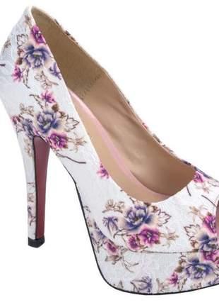 Sapatos femininos peep toe meia pata