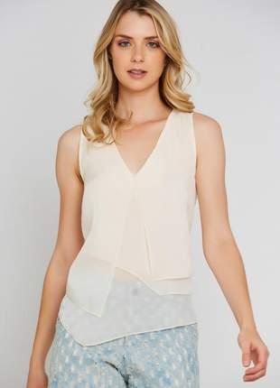 Blusa ralm cavada assimétrica - off white