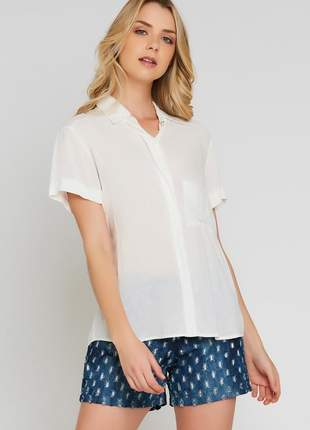 Camisa ralm viscose manga curta - off white