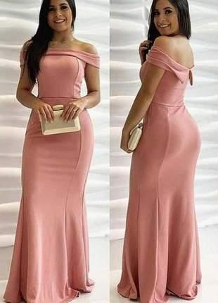 Vestido rosê longo de festa madrinha casamento civil cartório bojo ombro elegante