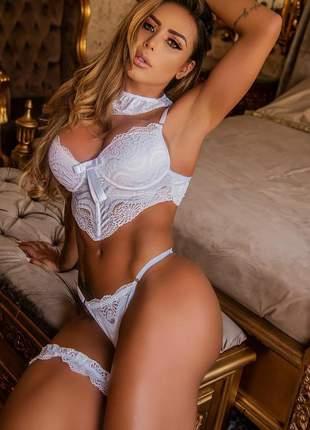 Conjunto lingerie sutiã branco renda luxo 36 ao 44