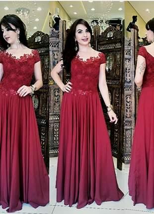 Vestido de festa modelo luxo manguinha marsala madrinha casamento longo formatura