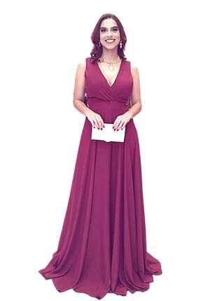 Vestido longo de festa luxo madrinha de casamento marsala formatura eventos gestante