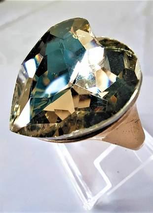 Anel coração dourado pedra amarela