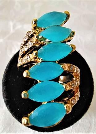 Anel triplo dourado pedras turquesas