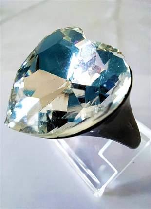 Anel coração ônix pedra transparente