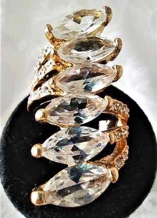 Anel triplo dourado pedras transparentes