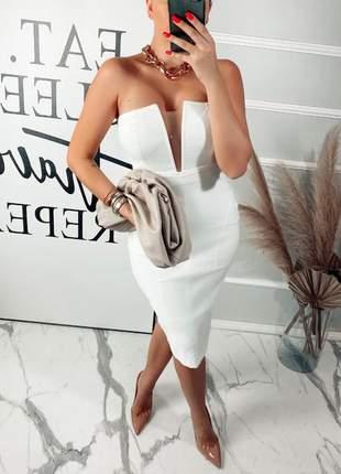 Vestido midi branco tomara que caia