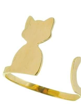 Anel falange gato gatinho banhado a ouro
