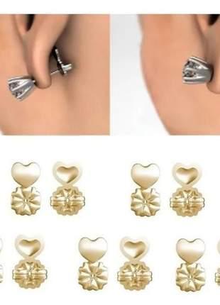 Par de tarraxas mágica para orelha rasgada banho de ouro