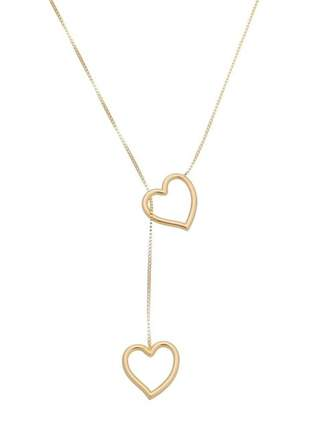 Gargantilha gravatinha banhado a ouro pingente coração