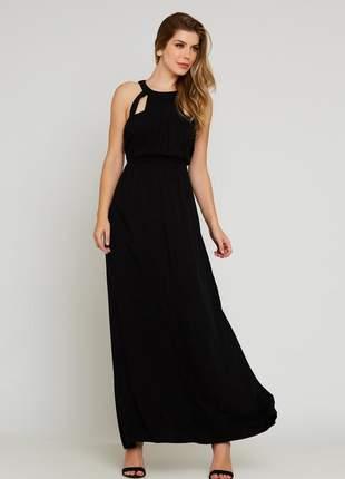 Vestido ralm longo crepe- preto
