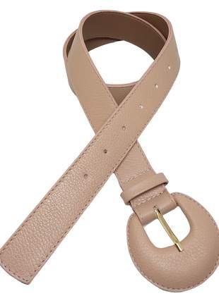 Cinto feminino fivela redonda fino couro legítimo moda blogueira.