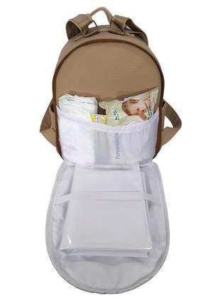Mochila maternidade bebe menina menino miellu + trocador 2pçs bege