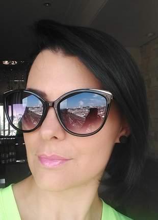 Óculos de sol feminino estilo gatinho cat eye verão 2020 com case e flanela