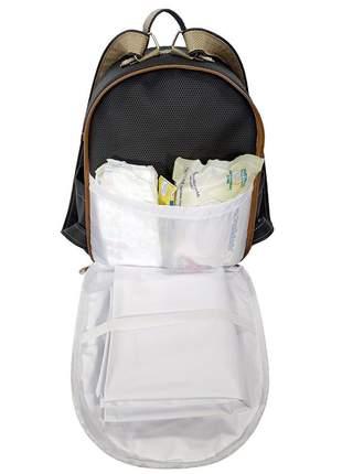 Mochila maternidade bebe menina menino miellu + trocador 2pçs preto