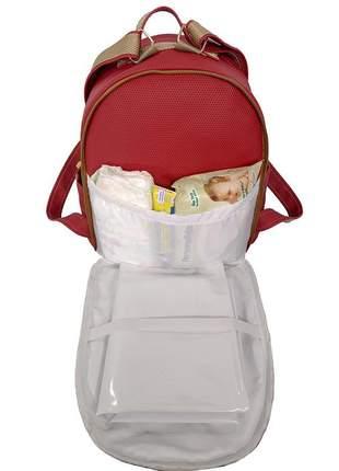 Mochila maternidade bebe menina menino miellu + trocador 2pçs vinho
