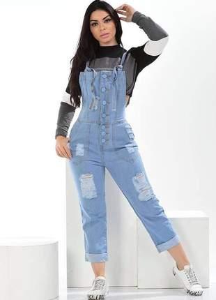 Macacão jardineira jeans botões forrados - destroyed