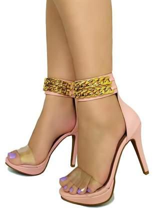 Sandália salto alto meia pata bellatotti catena rosa