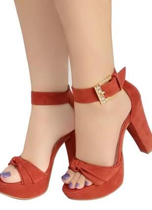 Sandália salto alto meia pata bellatotti marrom chic