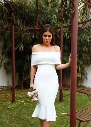 Vestido midi festa ombro a ombro casamento civil batizado noivado |ana|off
