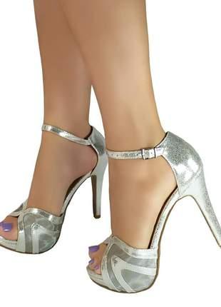 Sandália salto alto meia pata bellatotti cromata