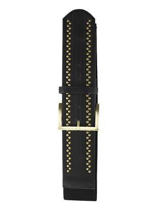 Cinto feminino metal dourado elástico largo tendência ref394 (preto)