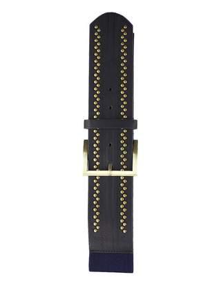 Cinto feminino metal dourado elástico largo tendência ref394 (azul-marinho)