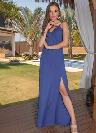 Vestido longo tricomix abertura lateral