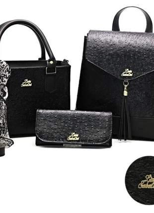 Kit de bolsa feminina + mochila+ carteira e lenço de brinde