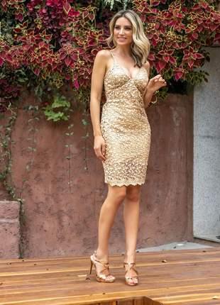 625555d898 Vestido dourado curto - compre online, ótimos preços   Shafa