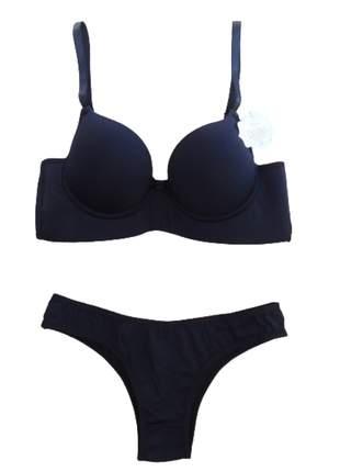 Conjunto lingerie básico reforçado plus size- intima divina