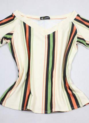 Blusa blusinha feminina listrada decote v moda evangelica